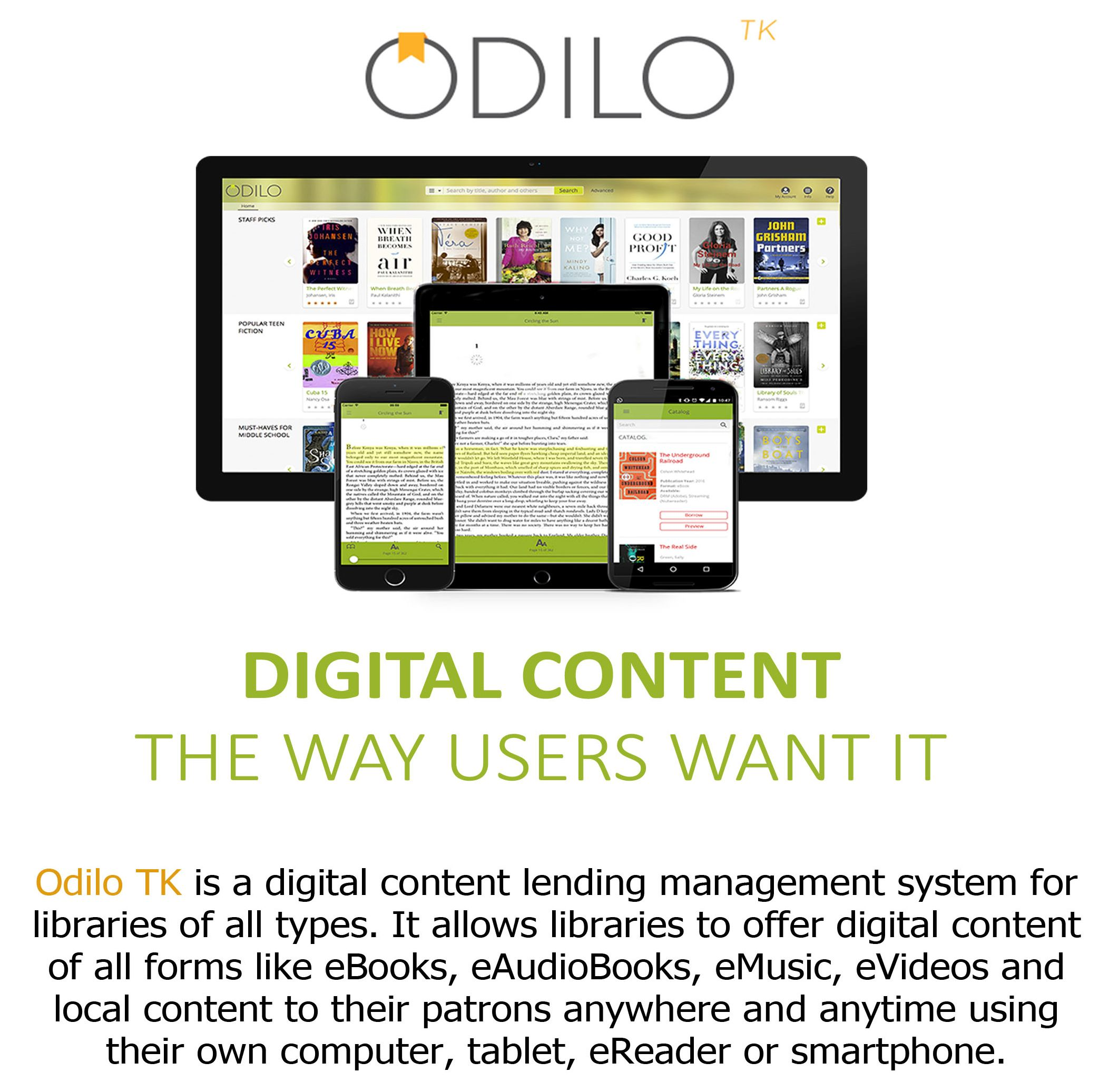 Odilo digital content circulation and lending system
